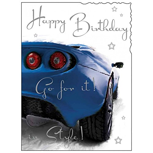 Male birthday card amazon greeting card jj8894 male birthday blue sportscar go for it in style silver embossed finish bookmarktalkfo Images