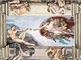 Posterlounge Leinwandbild 80 x 60 cm: Sixtinische Kapelle: Die Erschaffung des Adam von Michelangelo - fertiges Wandbild, Bild auf Keilrahmen, Fertigbild auf Echter Leinwand, Leinwanddruck