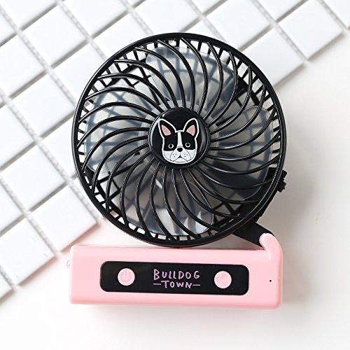 TJL USB Mini Ventilator Mini aufladbaren tragbaren Student Hostel Hand kleine Falten Handheld Fan gehalten, Kastanie Hund Serie schwarzen Rahmen - Kastanien-serie