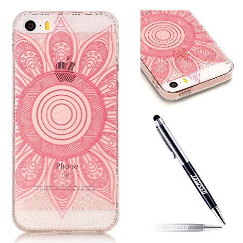 iPhone SE Custodia, iPhone 5S/5 Cover in Silicone TPU Transparente, JAWSEU Creativo Disegno Super Sottile Cristallo Chiaro Custodia per Apple iPhone 5/5S Corpeture Case Antiurto Anti-scratch Shock-Abs Fiore rosa