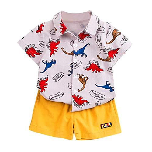 LABIUO Jungenanzug 2 STÜCKE Kleinkind Kind Baby Jungen Kurzarm T-Shirt Cartoon Dinosaurier Drucken Oberteile Kurze Hose Outfits Sets Sommer Kinderbekleidungsset(Beige,12-18 Monate/80)