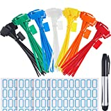 140 Pieces Zip Ties Nylon Cable Ties Marker Ties, Self-Locking Cord Power Making Label Mark Tags, 7 Colors (140 Pieces, 6 Inch)