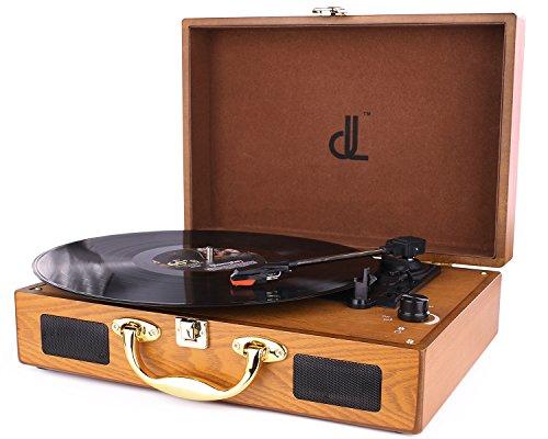 D & L Tre Velocità Giradischi 33/45/78 Giocatore Portatile Vintage in Vinile con Altoparlanti Incorporati, Registratore per PC, 3.5mm Jack per Cuffie, Linea RCA