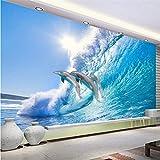 Fushoulu ModerneJumping Dolphin 3D Stereo Wandbild Tapete Hd Sonnenschein Sea Wave Fototapete Wohnzimmer Hintergrund Wanddekor-120X100Cm