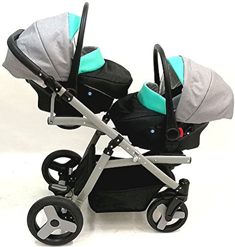 Twins pram 3in1: 2 carrycots + 2 buggies + 2 car seats + 2 ISOFIX + accesories. Grey + black ecoleather. BBtwin double pram Berber Carlo Directly from factory, guarantee color: grey + Mint, Made in the European Union, according to the standards PN-EN 1888 Includes: 2Maxi-Cosi + 2chairs + 2Car Seats group 0+ isofix 2bases + Bag + 2Plastics, rain + 2nets + 2x Baby safety + 2Bars for the chairs. Dimensions: Length with two Maxi-Cosi: 134cm Width of the car chassis: 62cm folded: 89X 62X 30cm wheeled chassis with chairs/Maxi-Cosi Weight: 17kg, Weight: 9kg, handlebar height: 75cm to 105cm, tote bag inside: 79X 33cm, Chair: 93X 37cm 9