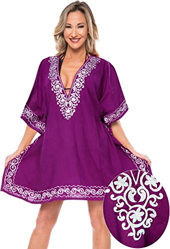 La Leela Rayon Designer Frauen Bademode Bikinibadebekleidung Badeanzug Kimono-Bluse verschleiern Dunkel
