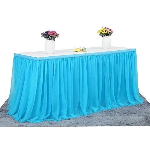 6ft Tüll-Tischdecke, Tischrock für Party, Hochzeit, Bankett, Zuhause, Dekoration, knitterfreie Tischdecke für Weihnachtsfeier