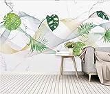 Fototapete 3D Vlies Tapete Moderne Wanddeko Design Wandbilder Anpassbare VliesTapete Minimalistische Abstrakte Linien Blätter Marmor - 200x140cm
