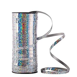 Alohha Ringelband, 5 mm breit, gerollt, metallisch, für Partys, Festivals, Geschenkverpackungen, Floristen, 100 Meter (Silber)