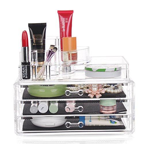 E-meoly Bijoux Cosmétique de stockage Organiseur de maquillage en acrylique Transparent écran pour vernis à ongles, Rouge à lèvres, peinture Brosse de stockage de support d'affichage (N ° 1303)