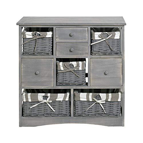 Rebecca mobili re4022 credenza country da cucina/bagno shabby con 4 cassetti e 5 cesti, legno, 73 x 73 x 32 cm