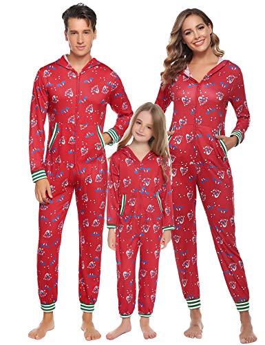 Aibrou Vater Schlafoverall mit Kapuze Schlafanzüge Einteiler Langarm Strampler Kuscheliges Pyjamas mit Reißverschluss lang Weihnachten Jumpsuits Rot S