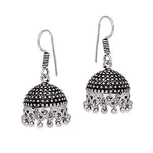 Jaipur Mart Collection Handmade German Silver Oxidised Dangle & Drop Earrings Jewellery For Women