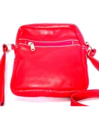 Star Exports Women's Goat Metallic Leather Handbag Red