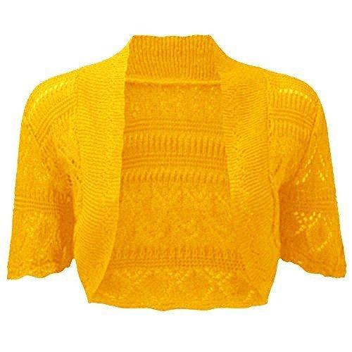 fashionchic femmes BOLERO étole femmes grande taille crochet cardigan tricot grande taille étole Haut 8-30 Moutarde
