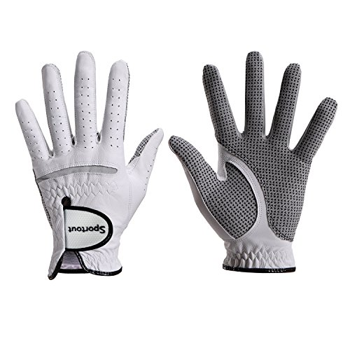 Sportout Herren compression-fit stable-grip echtem Cabretta-Leder Golf Handschuh, Super Weich, Flexibel, tragen beständig und angenehm. (Worn on Right Hand, L)