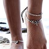 Gracewedding - Cavigliera in argento con ciondoli a forma di antiche monete, Cavigliera da spiaggia alla moda, per donna, stile: vintage, confezione da 2