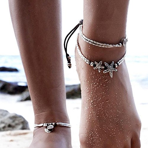 gracewedding Vintage estilo envejecido plata tobillera Coin borlas playa tobillo cadena moda moneda pierna tobillo pulsera tobilleras para mujer para playa Set de 2
