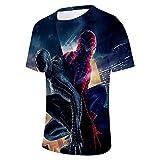 WQWQ T-Shirt Homme et Femme Spider-Man Heroes Expedition à Manches Courtes col Rond Impression numérique Fitness Sweat à séchage Rapide,B,L