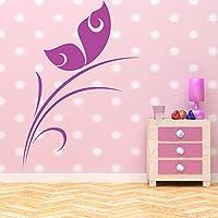 Semplice farfalla sulla foglia fiori delicate e Alberi Wall Sticker decalcomanie di casa darte disponibile in 5 dimensioni e 25 colori Extra Grande Verde muschio