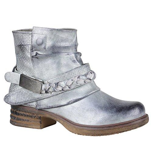 Stiefelparadies Damen Stiefeletten Biker Boots Nieten Schnallen Leder-Optik Schuhe 148778 Silber Flechte 38 Flandell