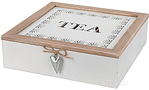 Teekiste aus holz mit Fächern, Teebox (Weiß, 9 Fächern)