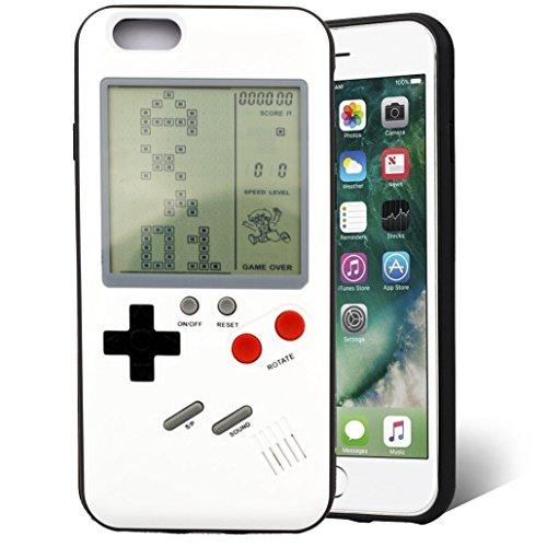 F-FISH Estuche iPhone X / 6 / 6s / 7/8 Plus Funda de Estuche ABS Estuche Protector Que Puede Jugar al Juego clásico [Gameboy] [Tetris] (iPhone 6/6s, Blanco)
