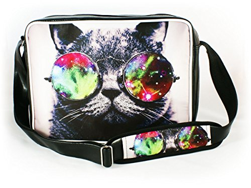 Oryginale Umhängetasche Schultasche Sporttasche Messenger Laptop Bag 20 Varianten GALAXY SUNGLASSES CAT (Laptop-computer-auktion)