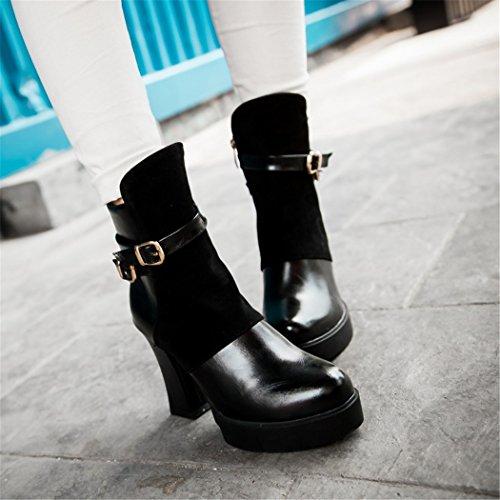 ZQ@QX In autunno e in inverno, testa tonda impermeabile dello spessore di Taiwan con scarpe con i tacchi alti la moda della fibbia della cintura di sicurezza anteriore zip laterale, stivaletti stivali black