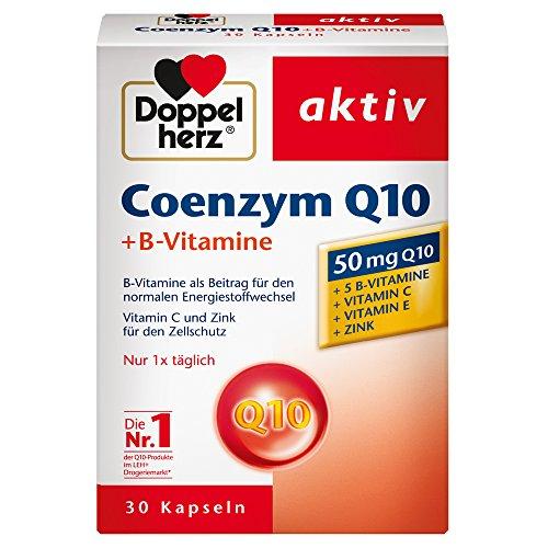 Doppelherz Coenzym Q10 + B-Vitamine – Nahrungsergänzungsmittel mit Q10 – Mit Vitamin B1, B2, B6, C und Biotin für den Energiestoffwechsel und das Nervensystem – 1 x 30 Kapseln