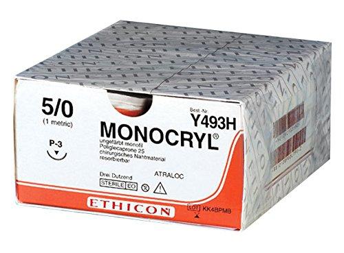 Topische Wundversorgung (Monocryl Y493H Topische antimikrobielle Substanzen, P3-Prime Naht material ungefärbt monofil (36-er pack))