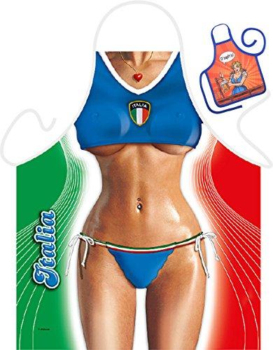 Italienische Frau Sport Motiv Kochschürze sexy Italienerin Kostüm Schürze : Italian Girl -- Themenschürze mit Minischürze für Flaschen (Italienischen Girl Kostüme)