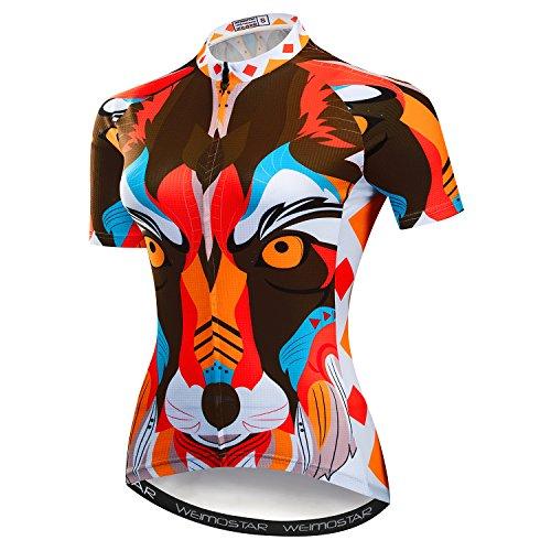 Radfahren Jersey Frauen Mountainbike Jersey Shirts Weibliche Rennrad Kleidung Pro Team MTB Tops Sommer Kleidung Hund Orange Größe XL