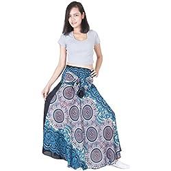 Lofbaz Mujer Falda Larga Bohemia de Cintura Alta Hippie con Flores Design #1 Blanco Talla única