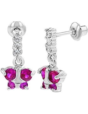 In Season Jewelry Mädchen - Schraubverschluss Ohrringe Baumeln Fuchsia Schmetterling Rhodiniert Weiß CZ Zirkonia