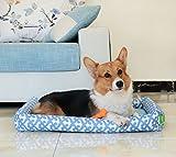 Pecute Alfombra para Mascota,Cama para Mascota,Desmontable y Lavable, Estampado, Impermeable para Perros o Gatos, Material de Oxford 600D de Calidad Duradero (L, azul)