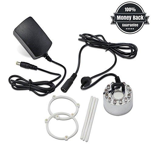 Maker ad ultrasuoni shineus dc 24v 12 led illuminazione colorata foggy air humidifier stagno fontana d'acqua con adattatore di alimentazione argento
