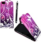 FOR APPLE IPHONE 4 4S VARIOUS PU LEATHER MAGNETIC FLIP CASE COVER POUCH + FREE STYLUS (Ultra Butterfly Purple)