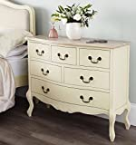 Juliette Shabby Chic Champagne Large 6 Drawer Chest (120x96), Stunning ASSEMBLED cream chest of drawers