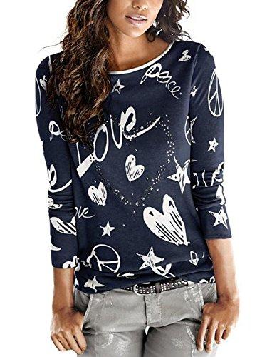 Hey ~ Yo Damen Frühling Herbst Langarmshirt Niedlich Love Heart Muster Bedruckte Bluse Bequem Wärme Hemd Casual Oberteile Loose T-Shirt Hemd Tops (Blau, 36)