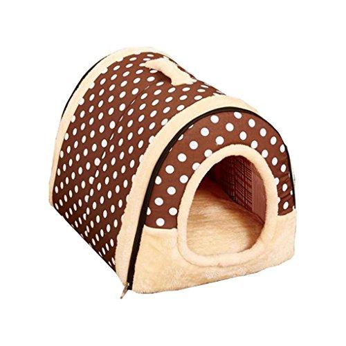 QHGstore Hundehütte Zwinger Nest mit Matte Faltbare Haustier Hundebett Katze Bett Haus für kleine Mittelgroße Hunde tiefer Farbpunkt M