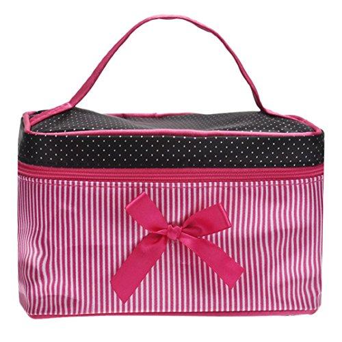 Sunnywill Fashion Square Bow Streifen Kosmetische Beutel Große Volumen Wasserdichte Verfassungs Beutel für Frauen Mädchen Damen (Rose rot) (Metallic-leder Bow)
