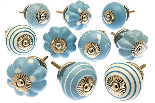 Türknauf/Schrankknauf, Porzellan, Motiv Mangobaum, Blau/Weiß, 10 Stück