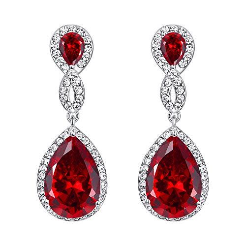 Flyonce österreichischen Kristall Zirkon Hochzeit Figur 8 Infinity durchbohrt Ohrringe rot Silber-Ton