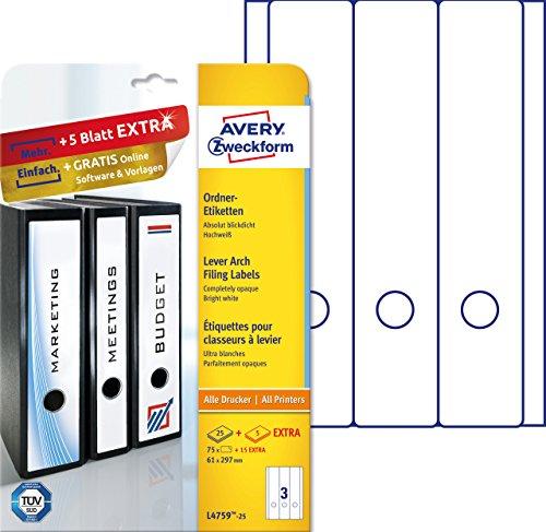 Avery Zweckform L4759-25 Ordnerrücken Etiketten (A4, 90 Rückenschilder, breit/lang, selbstklebend, blickdicht, 61 x 297 mm) 30 Blatt, weiß