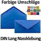Sobres Azul Medio DIN Largo–extraschwer–110G/M², 110x 220mm–nassklebung–Marca de calidad: Gustav neuser, color azul 50 Umschläge