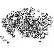 Skyllc® 200X Abalorio Beads Plástico Cuadrado Letras 6mm bricolaje Plata