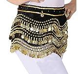 LaoZanA Donna Cintura di Monete danza del ventre con Monete Belly Dancing Outfit Costume Taglia unica Nero Gold