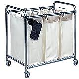 mondex INX415-00 Carro para la ropa sucia con 3 compartimentos, metal cromado, 46 x 78 x 84 cm