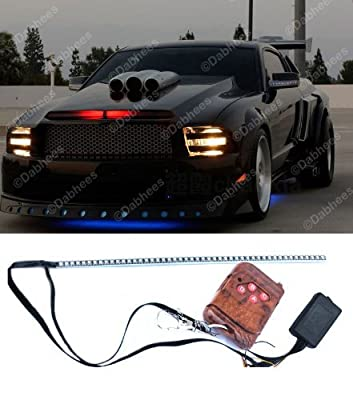Red 48 LED Car Knight Rider Flash Strobe Strip Light 54cm Waterproof Remote